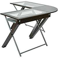 OSP Designs XT25L X-Text L-Shaped Computer Desk with Glass Top, Espresso/Silver Accents