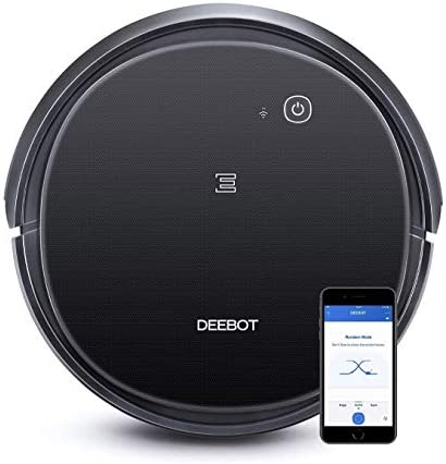 Ecovacs DEEBOT 500 Robot Vacuum Cleaner with Max Power Suction, Up to 110 min Runtime, Hard Floors and Carpets, Pet Hair, App Controls, Self-Charging, Quiet, Large, Black