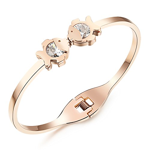 [Girl Era Cute Kissing Fish Rose Gold Plated Charm Cuff,Polished Hinged Bangle Bracelet,6.29