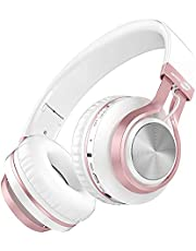 Baseman Wireless Bluetooth Headphones with Mic, On Ear Lightweight Foldable Wired Headphones, Hi-Fi Stereo Earphones Deep Bass Over Ear Headphone for Music Computer Laptop TV PC Kids(Pink White)