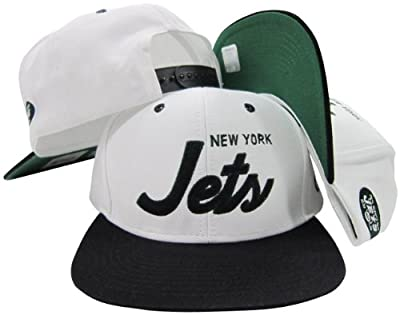 New York Jets White/Green Script Two Tone Adjustable Snapback Hat / Cap