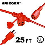 25 foot extention cords - KRIËGER Heavy Duty Multi-Outlet Outdoor Extension Cord with Evenly-Spaced Outlets- 3 AC Power Plugs In 1 Extension Cord - Ideal for Indoor and Outdoor Lights and Appliances- 25 Ft Long