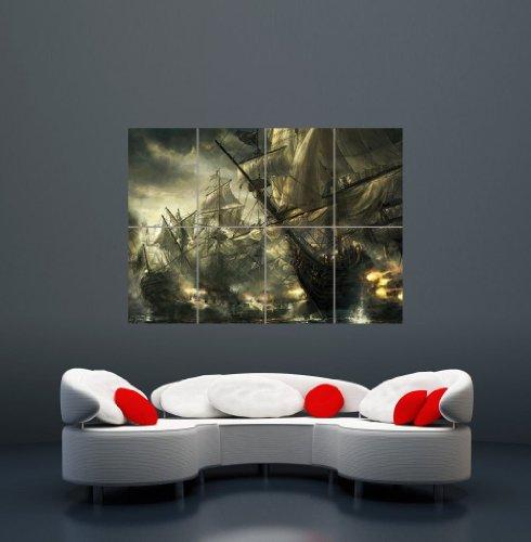 Battle Ships Pirate Boat War Poster Art Print Giant Large