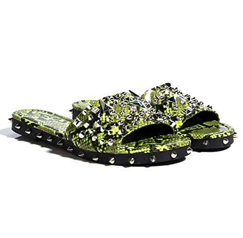 Cape Robbin Tonie Lime Snake Ultimate Edgy Slides Flat Sandal Gold Studded Mule (8.5)