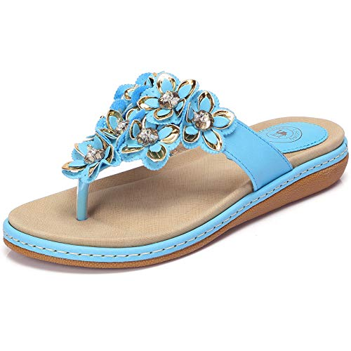 Blue Flower Flip Flops - CAMEL CROWN Women's Bohemia Beach Summer Flat Sandals T-Strap Beaded Dress Thong Flip Flops Comfortable Slip On Casual Shoes Turquoise