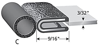 "5//8/"" Bulb Seal Diameter Trim-Lok Trim Seal with Top Bulb Fits 3//32/"" Edge PVC Plastic Trim with EPDM Rubber Bulb Seal 25/' Length"