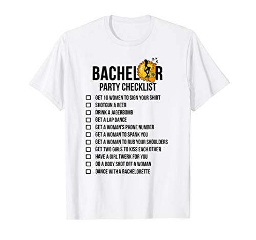 Bachelor Party Checklist Shirt - Getting Married Tee for Men -