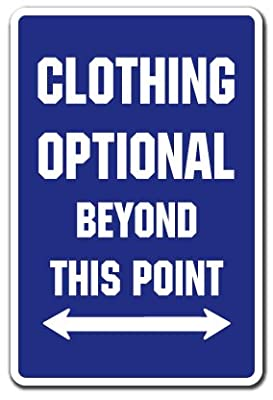 Clothing Optional Parking Sign | Indoor/Outdoor | Funny Home Décor for Garages, Living Rooms, Bedroom, Offices | SignMission Pool Spa Hot Tub Gift Swimming Nudist Nude Sign Wall Plaque Decoration