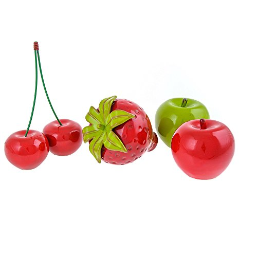 Modern Handmade Artificial Ceramic Fruit Ornament Set of 4 pcs Kitchen Decor - Apples, Strawberry & Cherries by EliteCrafters