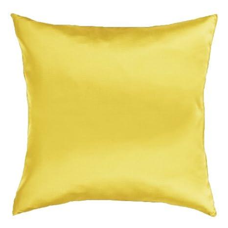 Funda de cojín con relleno Qooltex satén amarillo 50 x 60 cm ...