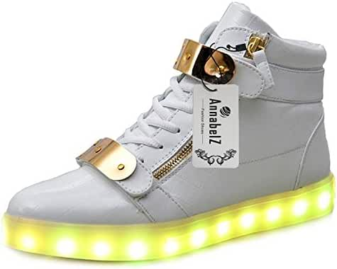 AnnabelZ LED Shoes High Top Men Women Light Up Shoes USB Charging Metal Velcro Flashing Sneakers