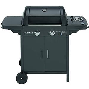 Campingaz 2 Series Classic EXS Vario Barbacoa de gas con 2 quemador, 7.5kW de potencia, Parrilla y plancha de hierro fundido, 1 mesa lateral, 10 litros, Negro/Gris