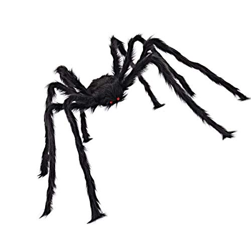 - Medou 4.9 Ft /150cm Virtual Realistic Hairy Plush Spider for Halloween Party Cosplay Prop Decoration Party Favors(Black)