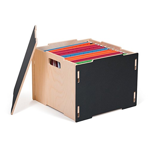 Black Modern Wood Hanging File Boxes, American Made
