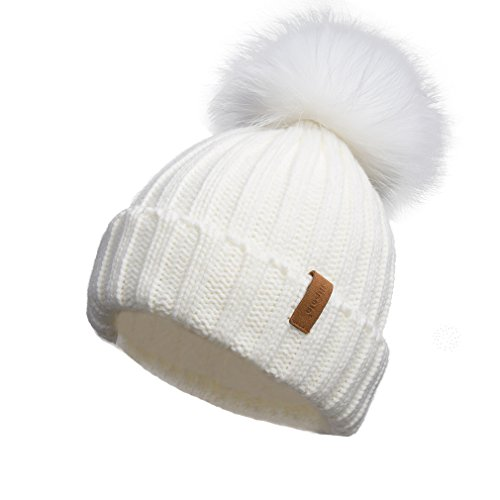 Pilipala Women Knit Winter Turn up Beanie Hat Ivory and White Fur Pompom ()
