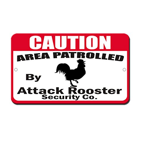 NewFDeals Patrolled By Attack Rooster Novelty Funny Metal Plate Gift Sign 8 x 12 inchesfor Home/Man Cave ()