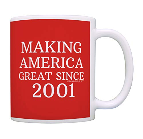 18th Birthday Gifts For All Making America Great Since 2001 Birthday Gift Coffee Mug Tea Cup Red