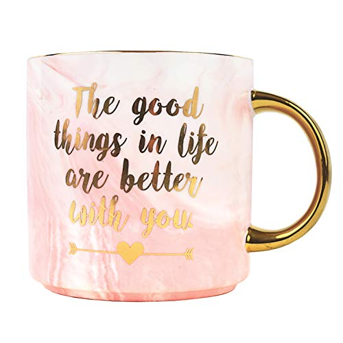 Mug Love Mom - Best Coffee Love Mug – Marble Ceramic Mugs Gifts for Mom Mothers Day Wife Bride Girlfriend – Better With You Cup Gift 11 oz