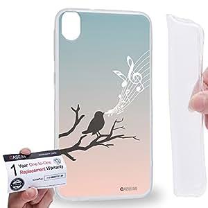 Case88 [HTC Desire 820] Gel TPU Carcasa/Funda & Tarjeta de garantía - Art Fashion Birds Of Music Song Art1394