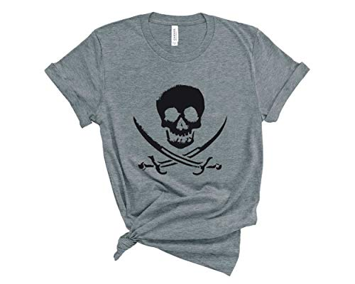 Blue Sand Textiles Pirate Shirt. Skull T-Shirt. Soft & Comfy Unisex Pirate Tee. Gasparilla Shirt. (Heather Grey, XX-Large)