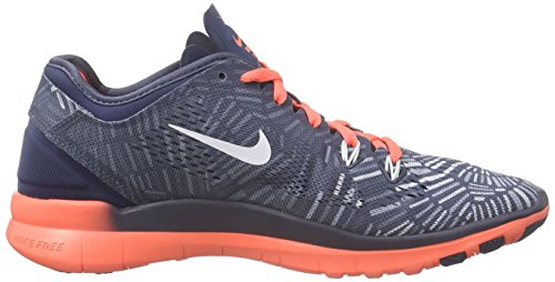 Nike Womens Free 5.0 Tr Passe Trening Sko (print) Skvadron Blå / Lys Mango / Blå Grå / Hvit 11