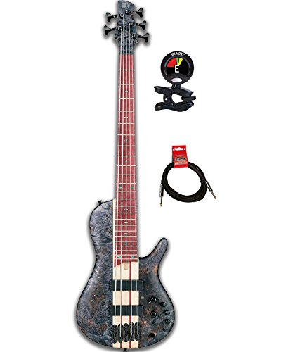 Ibanez SRSC805 Single-cutaway Active 5 string Electric Bass Guitar with Purpleheart Fingerboard and Bartolini Pickups Package includes Clip on Guitar Tuner and Instrument ()