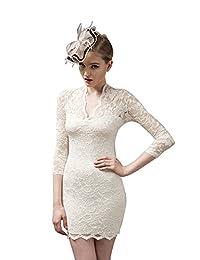 CA Mode Women's V-neck Floral Lace Party Sheath Bodycon Dress