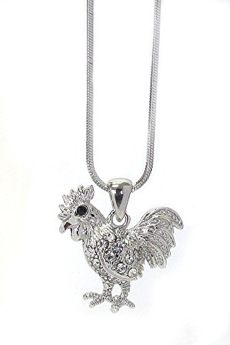 Lola Bella Gifts Crystal Rooster Pendant Necklace with Gift (Bella Rooster)
