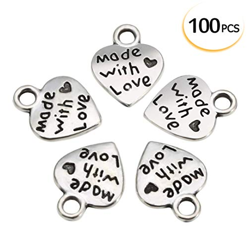 100 Pcs Love Heart Charm Made with Love Letter Carving Pendant Jewelry Making Accessories