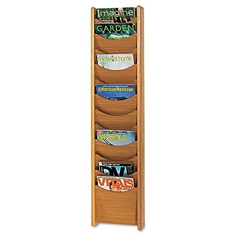 Safco Products 4331MO Wood Magazine Rack, 12 Pocket, Medium Oak - 9 Pocket Magazine Display