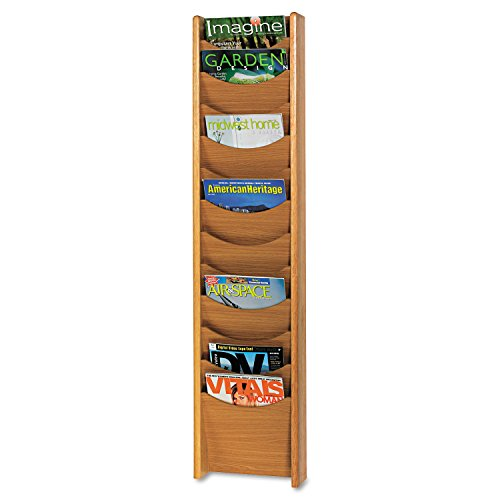 Safco Products 4331MO Wood Magazine Rack, 12 Pocket, Medium Oak -