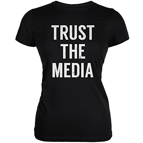 Trust The Media Inspired by Michael Stipe Black Juniors Soft T-Shirt - X-Large ()