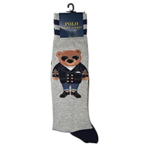 Polo Ralph Lauren Men's Millennial Commodore Bear Solid Casual Dress Sock, Grey