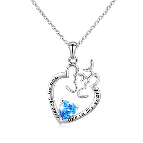 Silver Necklace Inspired Heart (JZMSJF Mom Birthday Deer Antler Necklace 925 Sterling Silver Love CZ Pendant Inspired Animal Necklaces Deer Necklace)