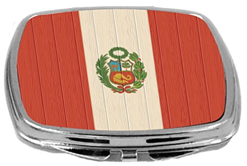 Rikki Knight Compact Mirror on Distressed Wood Design, Peru Flag, 3 Ounce by Rikki Knight