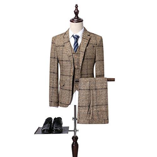 ASAKUSAIREN Men's Slim Plaid Modern 3-Piece Suit Blazer Jacket Tux Vest & Trousers Fit Formal Wedding (L, (Wedding Suit Tux)