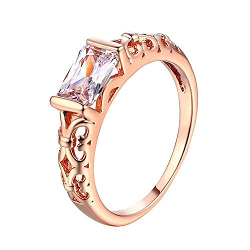 (HIRIRI Anniversary Rose Gold Silver Ring Stylish Accessories Gem Jewelry Wedding Engagement Present)