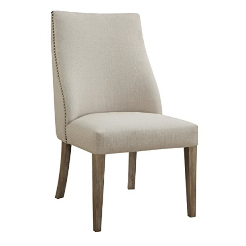 Emerald Home Barcelona Rustic Pine and Beige Upholstered Dining Chair with Curved Back And Nailhead Trim, Set of Two (Set Hutch Upholstered)