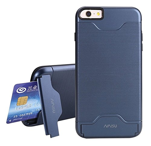 iPhone 6 / 6S Case, NAISU Card Slot Holder Kickstand Dual Layer Hybrid Protective Case with Brush Finish Back Cover for Apple iPhone 6 / 6S (4.7 Inch)-Navy