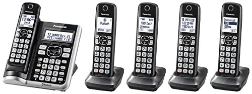 PANASONIC Link2Cell Bluetooth Cordless Phone System with Voice Assistant, Call Blocking and Answering Machine. DECT 6.0 Expandable Cordless System - 5 Handsets - KX-TGF575S (Silver) - Panasonic Blue Telephone