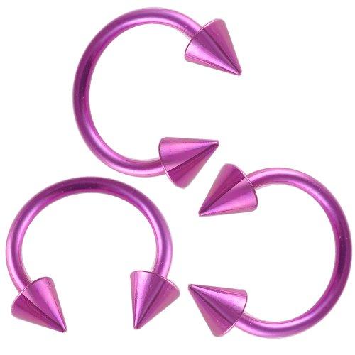 bodyjewellery 16g 16 gauge 3/8 purple surgical steel circular barbell eyebrow bar lip tragus horseshoe ring lot ANZM Jewelry Piercing - Circular Barbell Purple