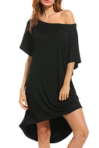 HOTOUCH Women Loose Short Sleeve Plain Shoulder Off Asymmetric Hem T Shirt Dress Top, Medium, Black