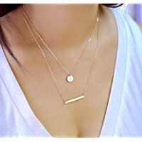 Bar and Small Disc Layering Necklaces, 14K Gold fill, Sterling Silver or Rose Gold filled