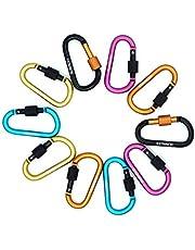 SUNREEK Aluminum Carabiner D-Ring Key Chain Clip Climbing Hook- Random Color(10 pcs)