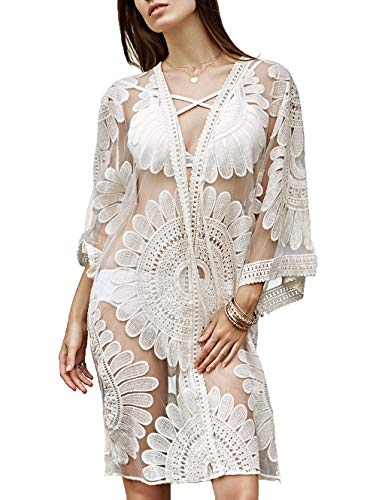 Women's Summer Blouse Loose Kimono Floral Print Cardigan Chiffon Beachwear Dress (SR1-White)