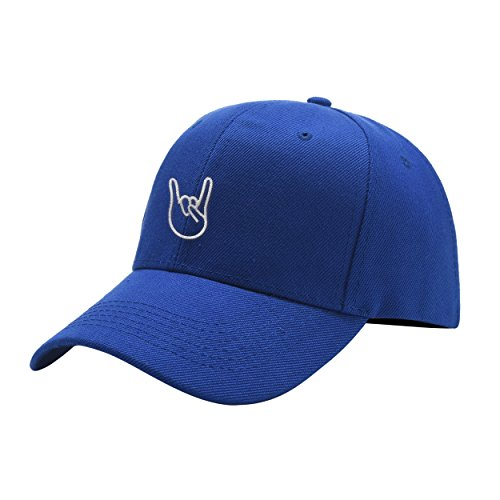 Clihugo Rock On Blue Peaked Hat Embroidered Logo Adjustable Dad Cap
