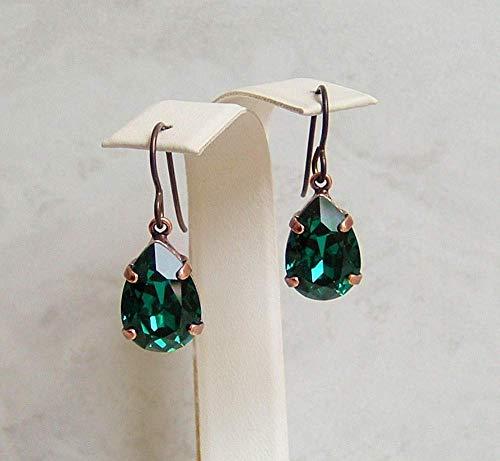Dark Green 14mm Teardrop Crystal Antique Copper Niobium Earrings Faux Emerald May Birthstone Gift Idea