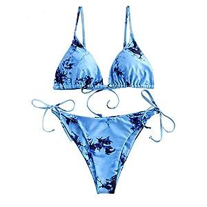 ZAFUL Women's Criss-Cross Tie Dye Cinched String Triangle Bikini Set Ribbed Floral Leaf Print Three Piece Swimsuit
