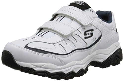 Skechers Sport Men's Afterburn Strike Memory Foam Sneaker, White/Navy, 10.5 4E US