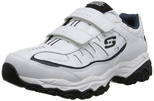 Skechers Sport Men's Afterburn Strike Memory Foam Velcro Sneaker, White/Navy, 9.5 4E US